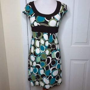 B. Darlin Sz 3/4 Brown Blue Green Tie Waist Dress
